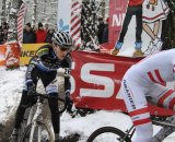 Girl stalling on the last corner before the finish in Kalmthout ©Baboco