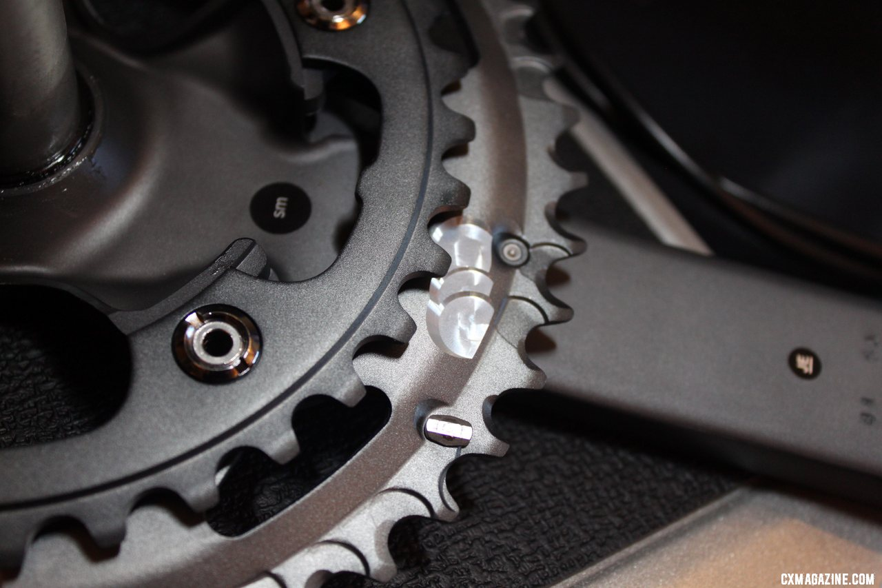 The outer crankset features machined ramps for faster upshifts.  © Cyclocross Magazine