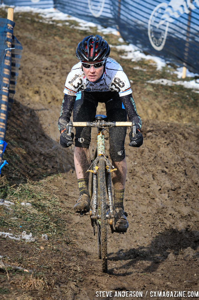 Ellen Sherrill takes on the muddy course.  © Steve Anderson