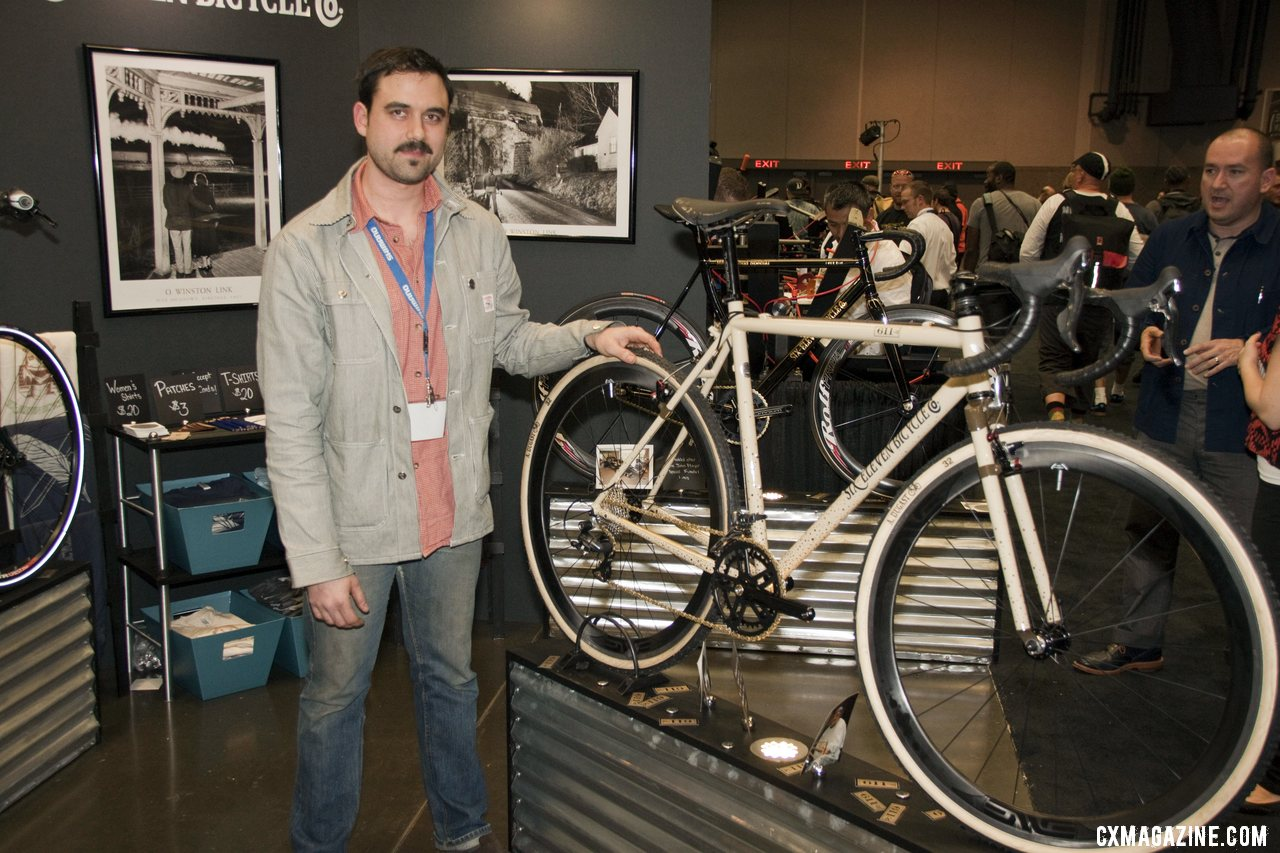 Six Eleven Bicycle Co.\'s Aaron Dykstra with his cyclocross bike at NAHBS 2012. ©Cyclocross Magazine