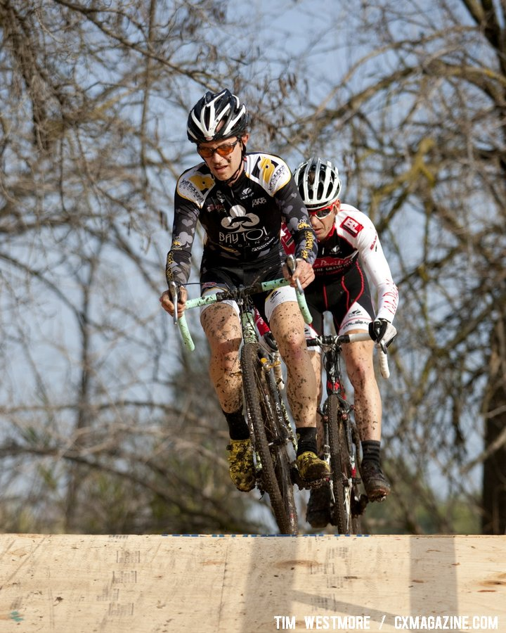 Snead leads Prenzlow in the Elite Men\'s race. Socal vs. Norcal Cyclocross Championships. © Tim Westmore