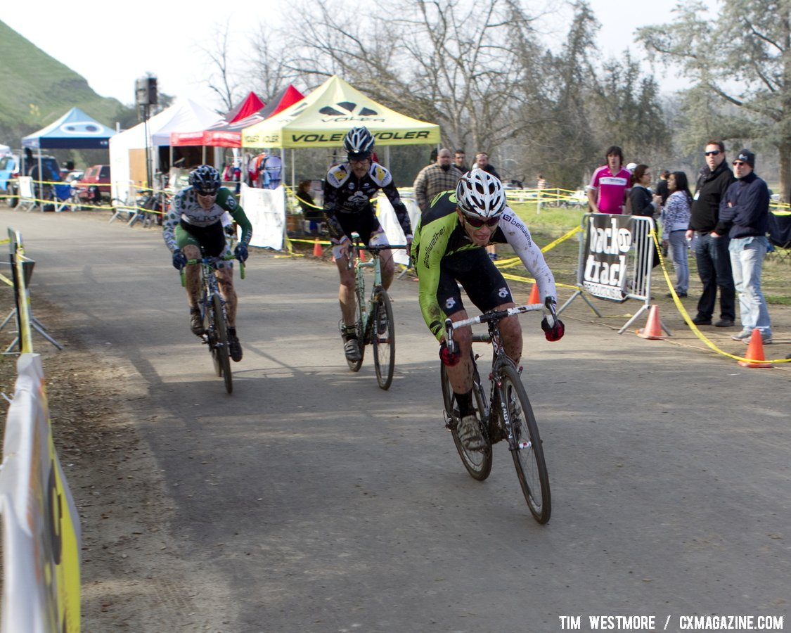 The chase group in the Elite men\'s race. Socal vs. Norcal Cyclocross Championships. © Tim Westmore