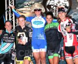 Teal Stetson-Lee (Luna) went Lady Gaga on the Elite Women's podium. From left to right: Caroline Mani (Raleigh/Clement, 5th), Elle Anderson (Ladiesfirst, 3rd), Teal Stetson-Lee (Luna, 1st), Courtenay McFadden (Clif Bar/Bicycle Centres/Voler, 2nd) and Mical Dyck (Stan's No Tubes CX, 4th). © Phil Beckman/PB Creative/pbcreative.smugmug.com