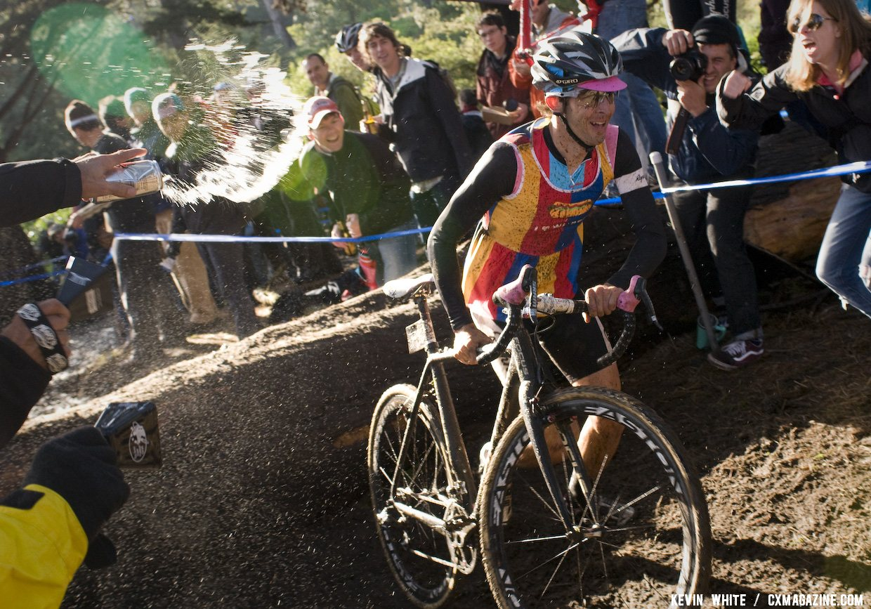 Chris Jones, had a huge lead at the 2011 SSCXWC, couldn\'t avoid the beer spray. © Kevin White