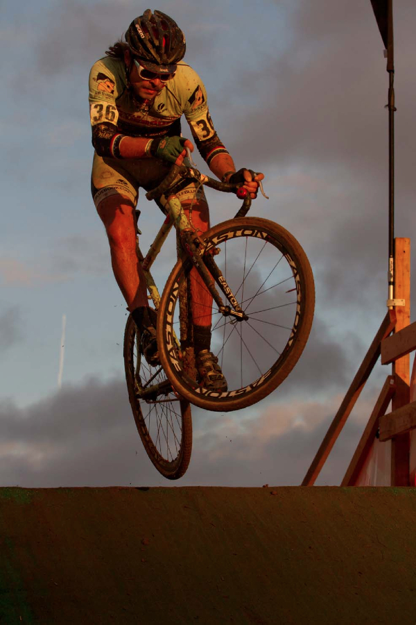 Aaron Bradford going Airborne and Earning Third Placeat 2012 SSCXWC. ©  Tim Westmore