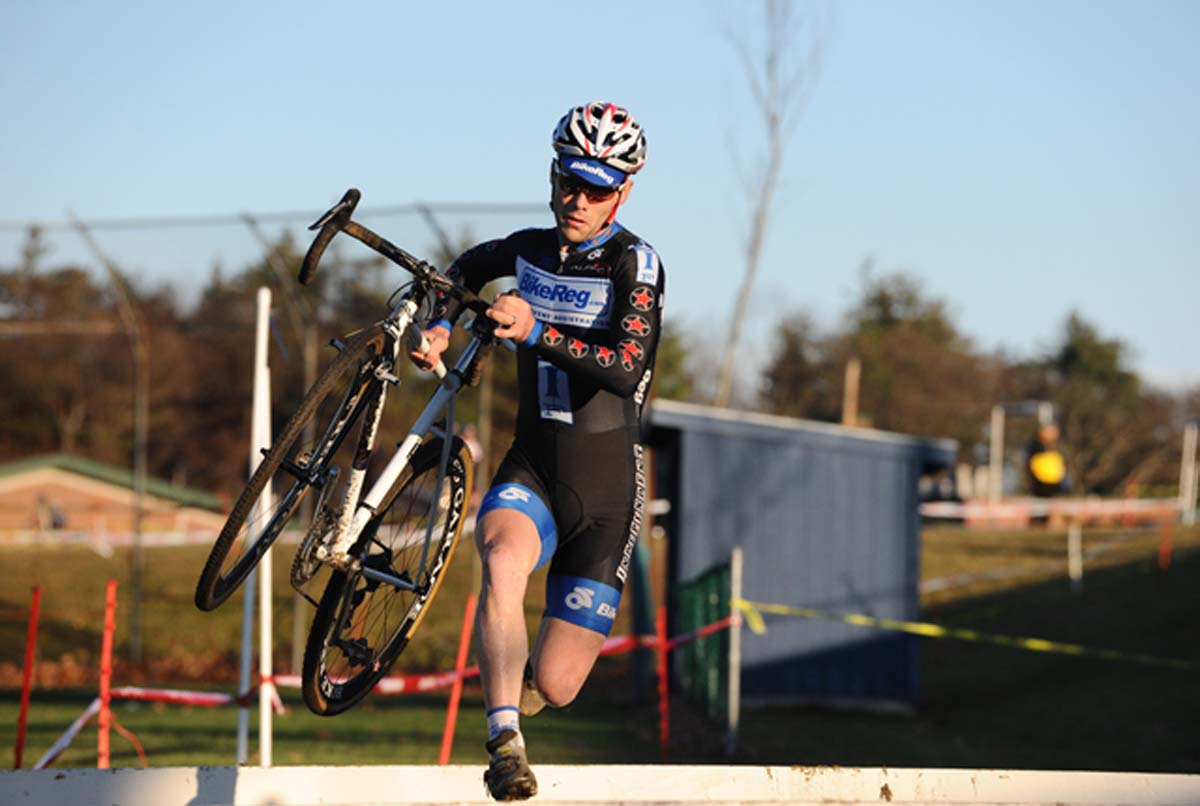 Justin Lindine comes through the barriers.? Natalia McKittrick, Pedal Power Photography, 2009