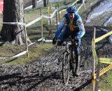 Benny Anderson of Sweden keeping it upright in the slick muddy conditions of the Mens 55-59 race. ©Steve Anderson