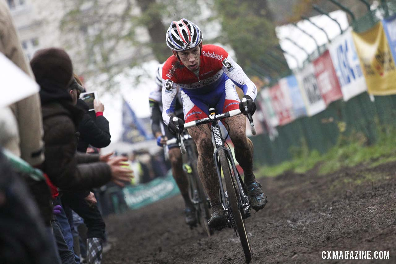 Lars van der Haar on the straight away. © Bart Hazen / Cyclocross Magazine