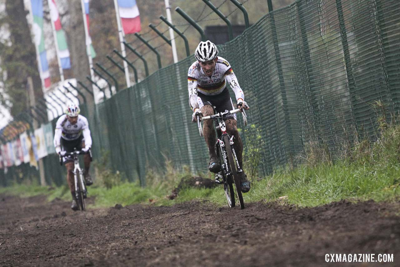 Philipp Walsleben ahead of Sven Nys on the straight away. © Bart Hazen / Cyclocross Magazine
