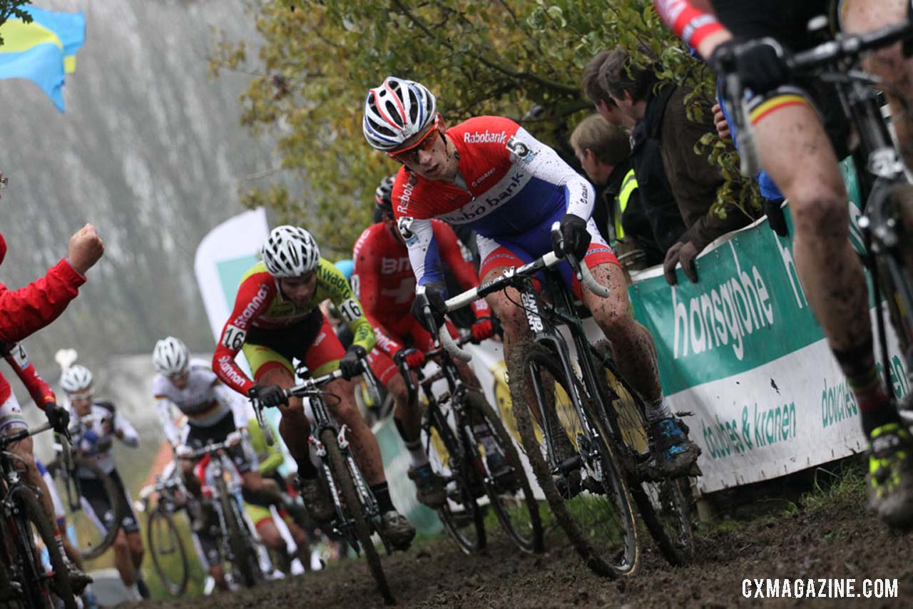 Lars van der Haar (Rabobank), center, negotiating an uphill section of the course. © Bart Hazen / Cyclocross Magazine