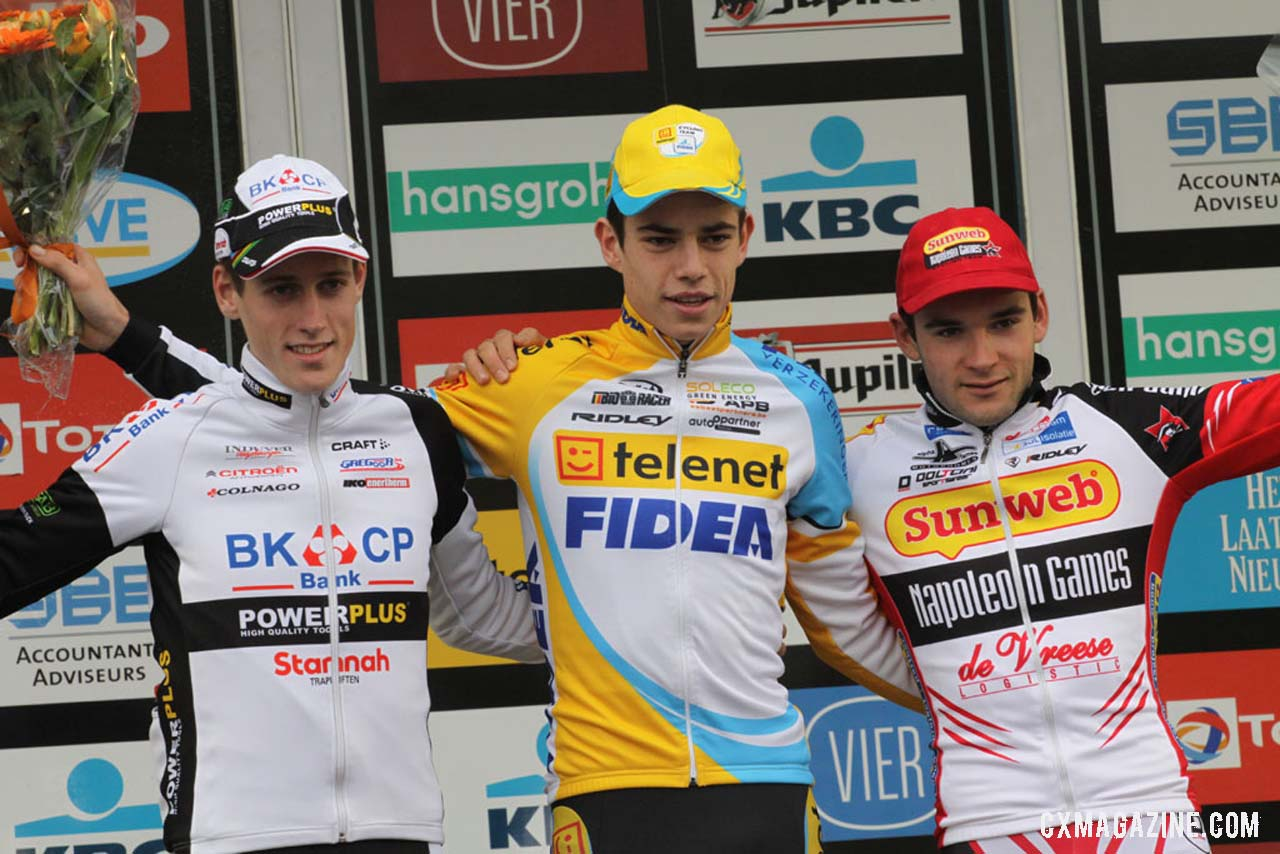 The Men\'s U23 podium (L-R): Jens Adams (BKCP-Powerplus), 2nd; Wout van Aert (Telenet-Fidea), 1st; Gianni Vermeersch,(Sunweb-Napoleon Games), 3rd. © Bart Hazen /  Cyclocross Magazine
