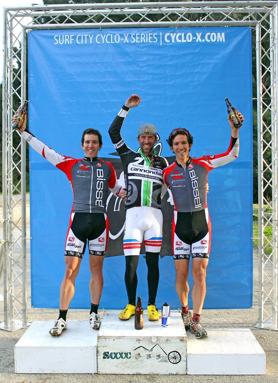 The men\'s podium: Johnson with the Jacques-Maynes twins - Andy in second (left) and Ben in third. Surf City Cyclocross Series Finale, Aptos High School, 1/10/10. ? Cyclocross Magazine