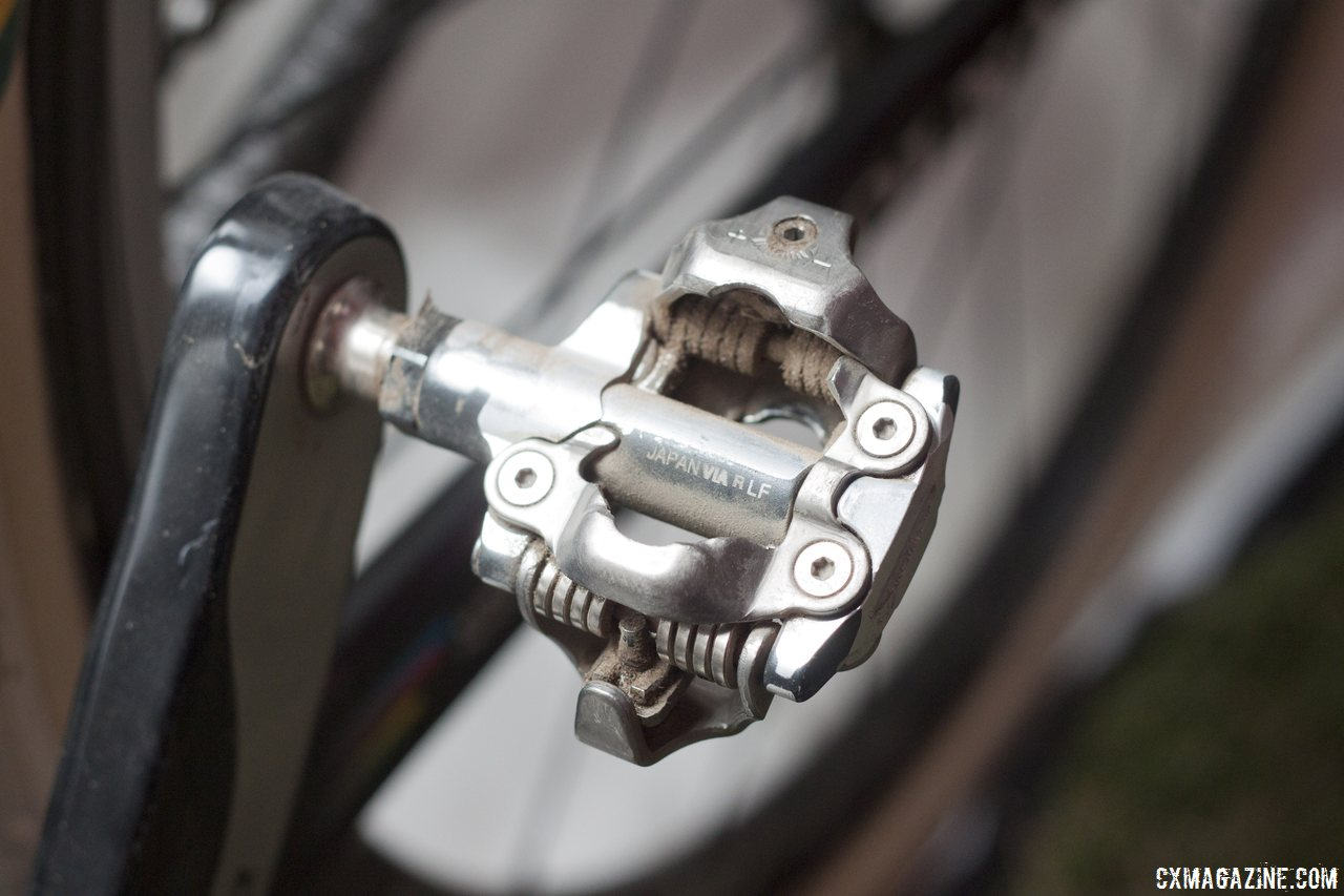 Sven Nys rode a heavily-modified Shimano XTR M980 SPD pedal (prototype?) to victory. © Cyclocross Magazine