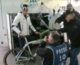 Sven Nys' new Trek Boone IsoSpeed carbon cyclocross bike got a bit of TV time at the GP Sven Nys in Baal. © Cyclocross Magazine