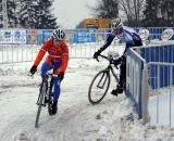 Daphny van den Brand scouts the icy corners with a teammate. 2010 Cyclocross World Championships, Tabor. ? Dan Seaton