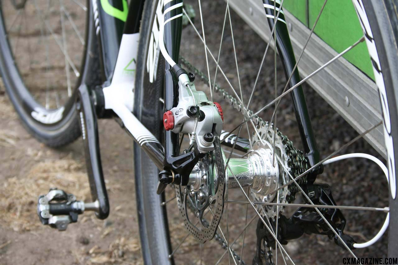 The Avid BB7\'s mounted on Tim Johnson\'s prototype Cannondale Super X. ©Cyclocross Magazine