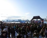 The Men's Elite podium set in front of Tokyo Bay and Rainbow Bridge. Thousands of spectators still turned out to watch Cyclocross Tokyo despite a record setting blizzard the day before and much of Tokyo's highways and mass transit still closed the day after. (Estimated to be about 10,000 fewer spectators than the previous year) at Tokyo Cyclocross. © 辻啓/Kei TSUJI