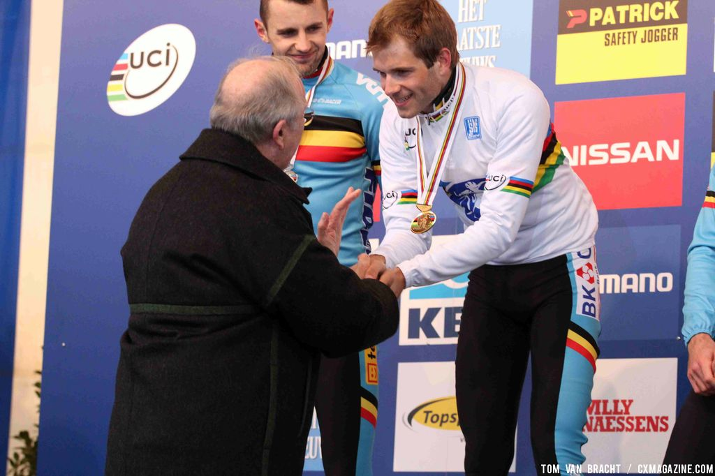 Belgium\'s King Albert II greets his namesake, and ruler of the cyclocross roost. ©Thomas van Bracht