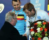 Belgium's King Albert II greets his namesake, and ruler of the cyclocross roost. ©Thomas van Bracht