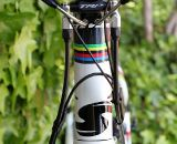 With hydraulic lines, brake cables, and electronic shift wires, it gets a bit busy with Di2 and the TRP Brakes Parabox Hydraulic Disc Brake Adaptor. © Cyclocross Magazine