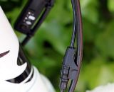 Shimano Dura Ace Di2 wires piggyback nicely on the TRP Brakes Parabox Hydraulic disc brake lines. © Cyclocross Magazine