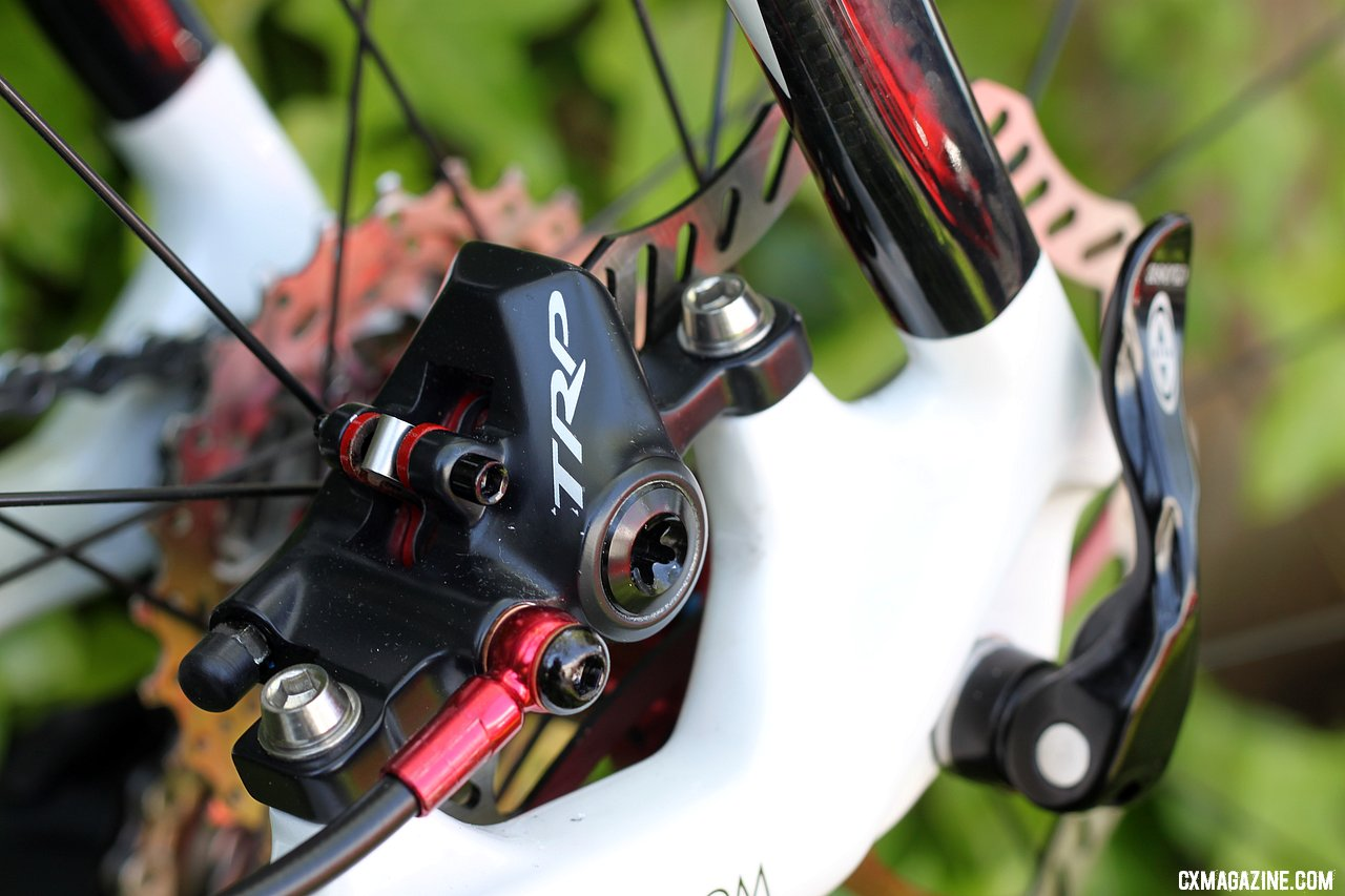 The Parabox hydraulic caliper mounts on the chainstay of the Stevens disc cyclocross bike. TRP Brakes Parabox Hydraulic Disc Brake Adaptor. © Cyclocross Magazine