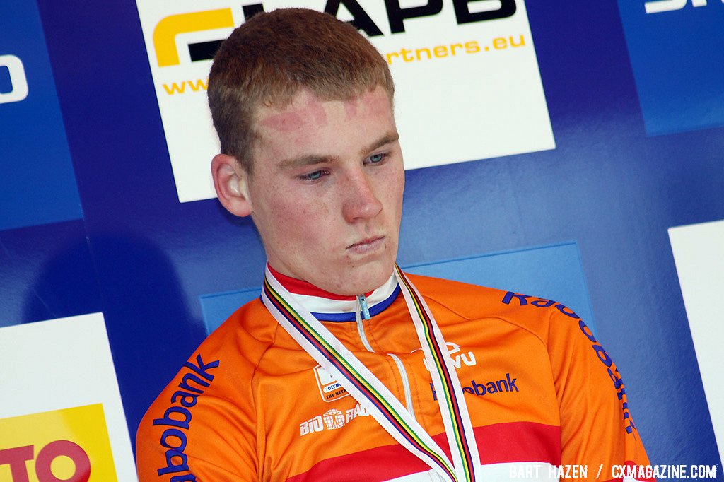 A disappointed Mike Teunissen. Teunissen finished second but was chased down by compatriot Tijmen Eising when riding in the lead.