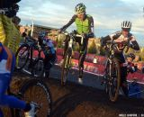 The two tallest riders -- Trebon and Kabush -- duke it out on the ride-up. © Cyclocross Magazine