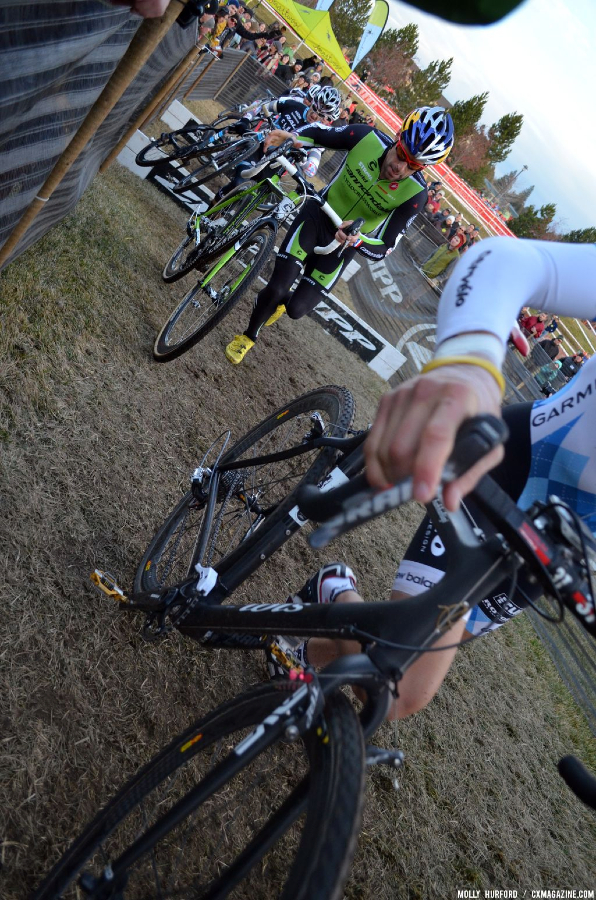 Summerhill leads, but Johnson waits to make his move. © Cyclocross Magazine