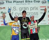 Trebon towers over Wellens (2nd, left) and Powers. 2011 USGP Planet Bike Cup, Sun Prairie. © Amy Dykema