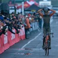 Ryan Trebon (Kona) celebrates his hard earned win.