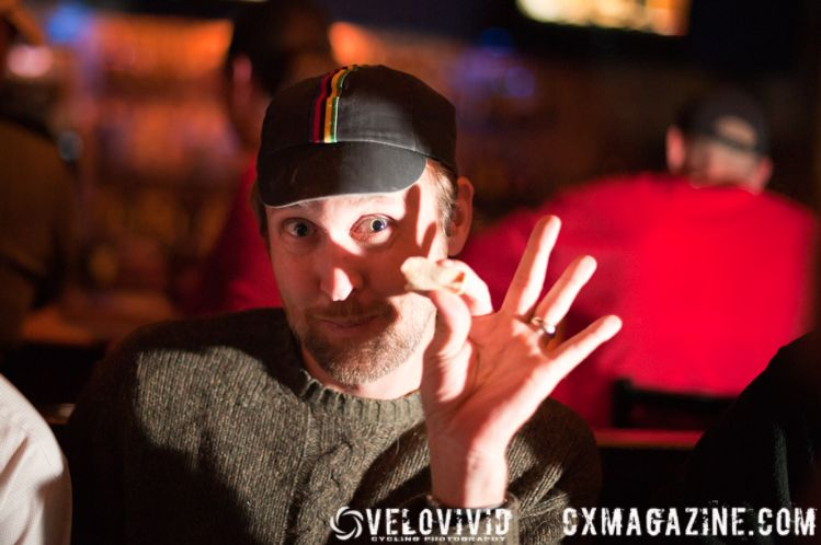 David \'Wildman\' Ackerman (Bishop\'s Cycling Team) offering recovery tips after a hard race at the Cincy3 Cyclo-Stampede. © VeloVivid Photography