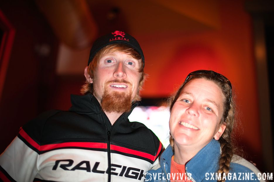 Craig Etheridge (Raleigh) posing with Bishop\'s Cycling Team member Debbie Baker. © VeloVivid Photography