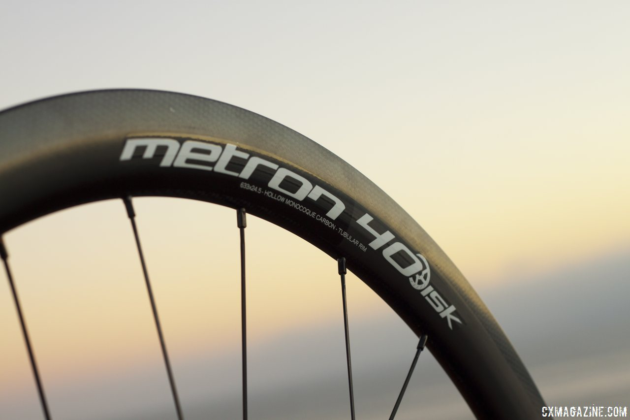 Aero bladed Sapim spokes on Vision Tech\'s Metron 40 carbon tubular wheels. © Cyclocross Magazine
