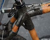 Carbon fiber hand-wrapped joints on the WebbWorks bamboo bike. Southeast Bike Expo 2013 © Cyclocross Magazine