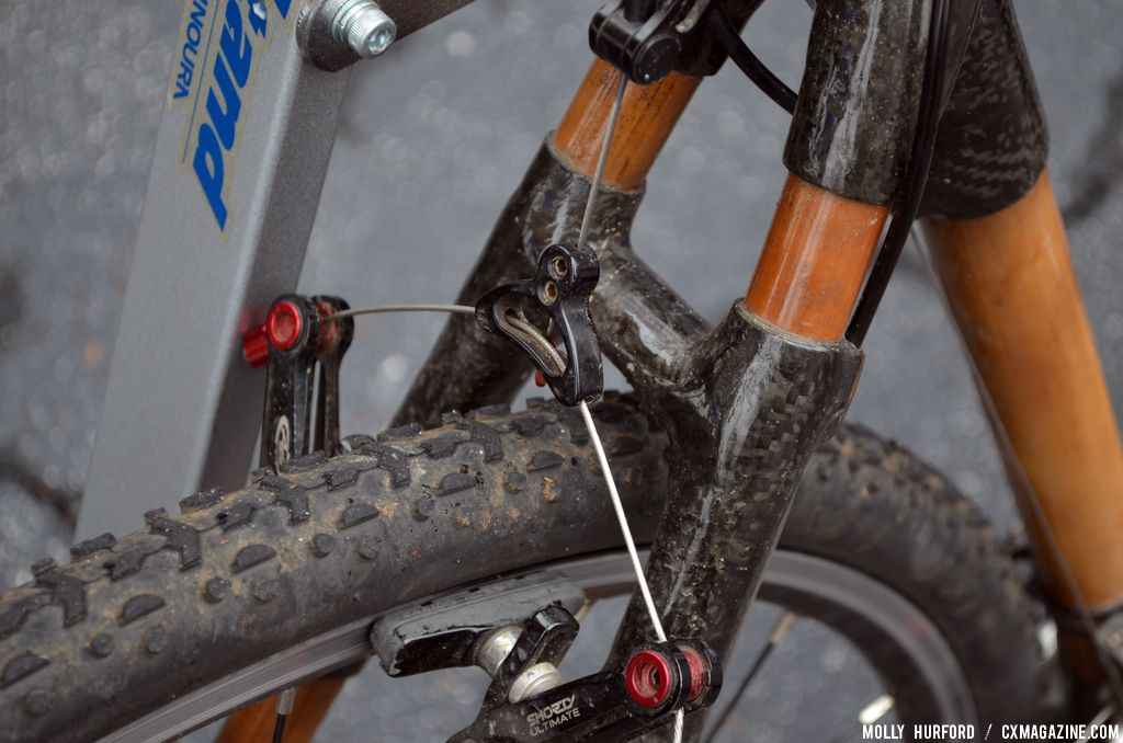 Avid Shorty Ultimate canti brakes on the WebbWorks bamboo bike, one option not available on the disc-only Calfee Design bamboo bikes. © Cyclocross Magazine