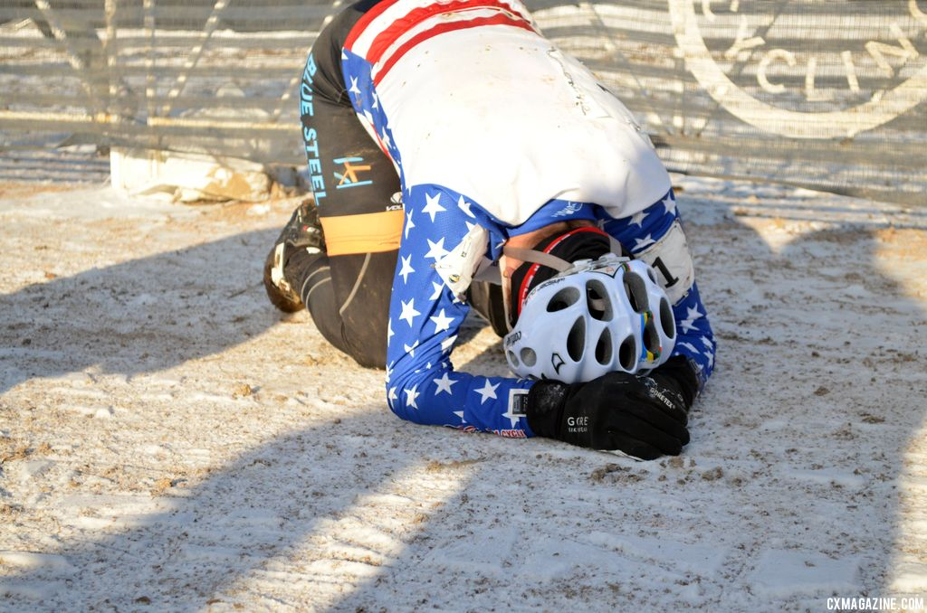 Sarvary recovering from her effort at 2013 Masters World Championships of Cyclocross. © Cyclocross Magazine