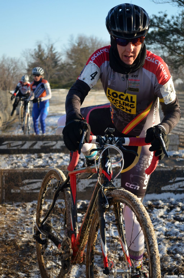 Racers had to run well clear of the barriers before remounting in the Women\'s 55+ at 2013 Masters World Championships of Cyclocross. © Cyclocross Magazine
