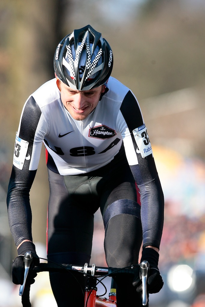 USA National elite men\'s cyclocross champion Ryan Trebon had a tough ending his successful season.  Trebon was a DNF after colliding with a tv camera\'s boom.