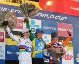 The podium of van den Brand, Marianne Vos and Katie Compton. ©Thomas van Bracht