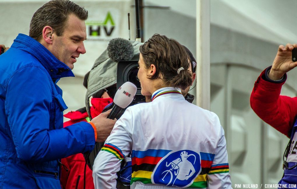 Interview of Marianne Vos for Dutch TV at 2014 World Championships. © Pim Nijland