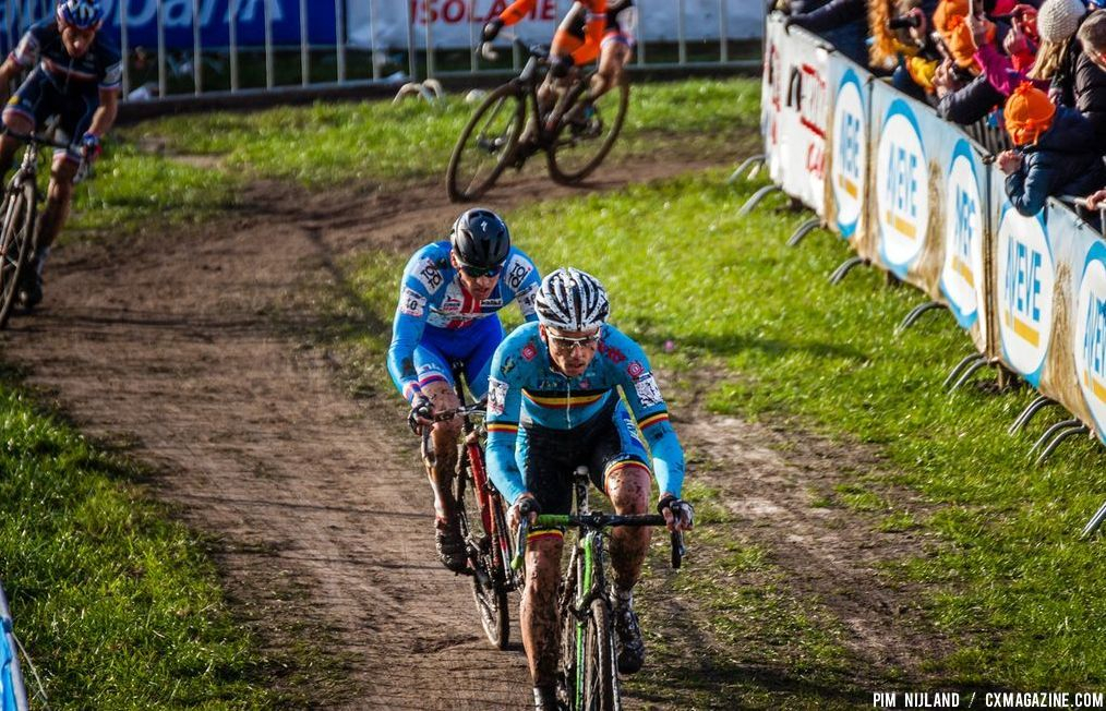 Nys and Stybar leading in the third lap at 2014 World Championships. © Pim Nijland