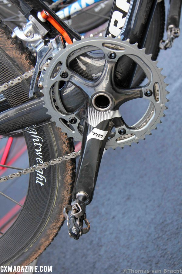 Mixing and matching Sram Force crankset with the ever popular Shimano XTR M970 pedals ©Thomas van Bracht