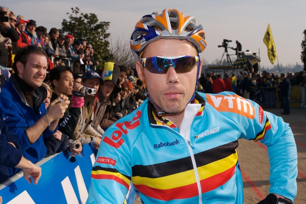 Sven Nys poses prior to the start of Worlds 2008. by Joe Sales
