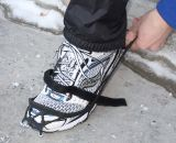 Once the forefoot is secure, stretch the back of the Yaktrax over the heel of your shoe. © Brian Hancock