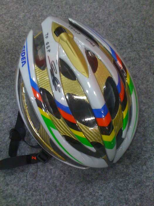 Zdenek Stybar's new World Champion Laser Helium helmet. ? Jared Roy