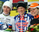 Women's podium at the World Cup in Zolder. From Left to Right: Vos - Compton - Van Paassen. © Bart Hazen