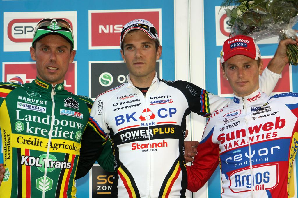 The final podium of Albert, Nys and Pauwels.  © Bart Hazen