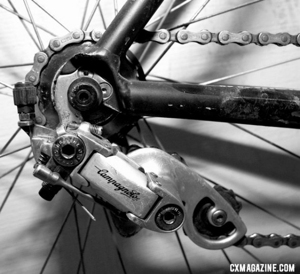 Use a short cable segment and a rear derailleur to make your own tensioner. © Cyclocross Magazine