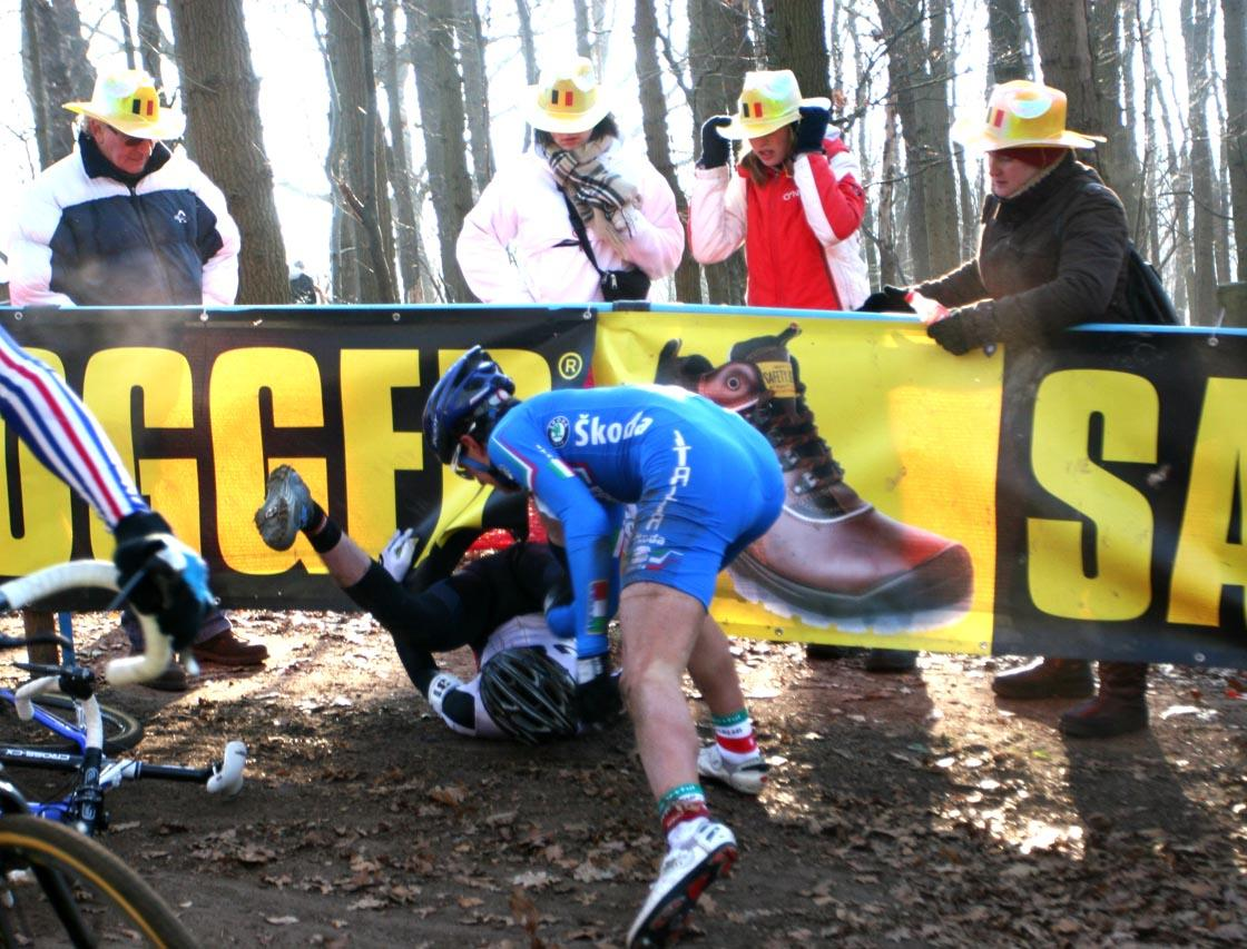 Zach McDonald crashes on descent after an Italian rider went down. by Mario Varreware.